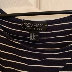 Forever 21 Tops - Forever21 Plus + Striped Boat neck top
